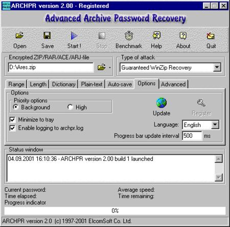Advanced ARJ Password Recovery 2.0